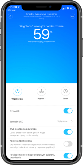 Aplikacja Mi Home do obsługi Xiaomi Smartmi Pure Evaporative 2
