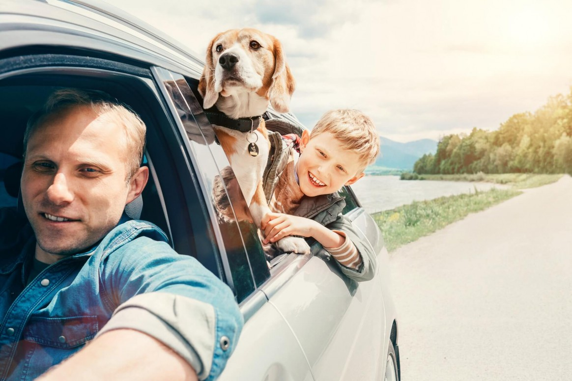rodzina z psem w kabinie samochodowej