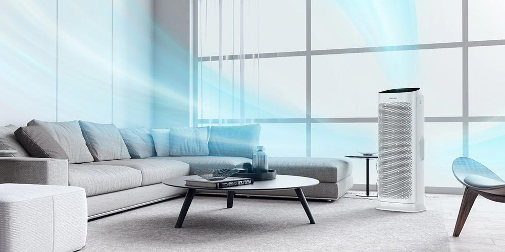 Oczyszczacz Samsung AX90 - aranżacja w pokoju dziennym