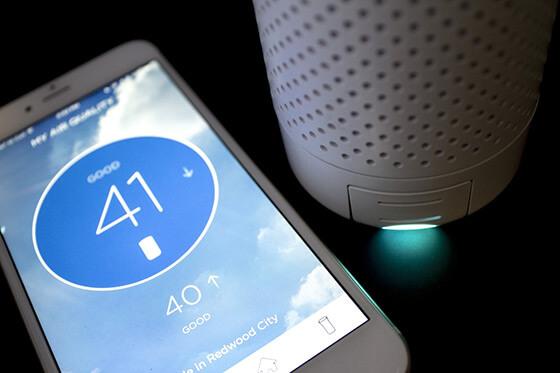 Miernik jakości powietrza Wynd aplikacja mobilna