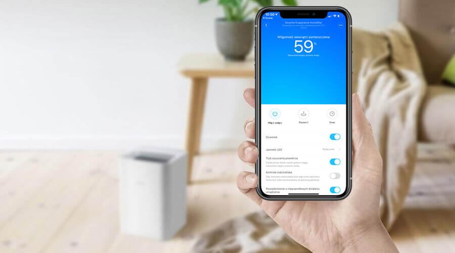 Xiaomi Smartmi Pure Evaporative sterowanie przez aplikację